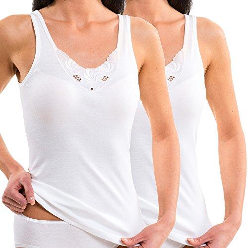 HERMKO 140010 2er Pack Damen Unterhemden mit großem Motiv