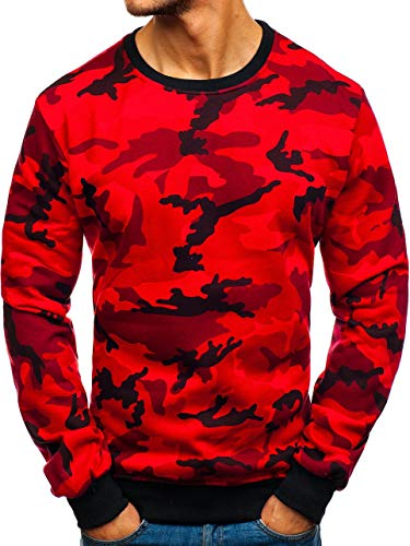 BOLF Herren Sweatshirt Pullover Rundhals Army Camouflage Military Style J.Style TX20 Rot M [1A1]