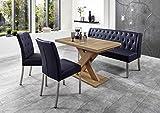 Dreams4Home Sitzbankgruppe 'Dios V' - Set, Essgruppe, Tischgruppe, 2 Stühle, Esstisch mit Einlegeplatte L/B/H:120(158,5)x80x75cm, 1 Bank L/B/H:158x66x89cm, modern, Esstisch mit Kreuzgestell, Honigeiche Dekor, Bezug dunkelblau
