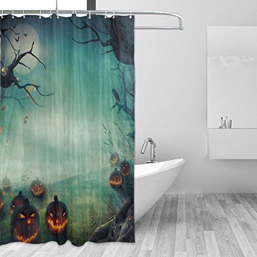 (COOSUN Dusche Halloween Design Wald Pumpkins Vorhang Set Polyester-Gewebe Wasserabweisend Badezimmer Duschvorhang Set Hauptdekoration mit Haken, 72W X 72L inches 72x72 Unisex)