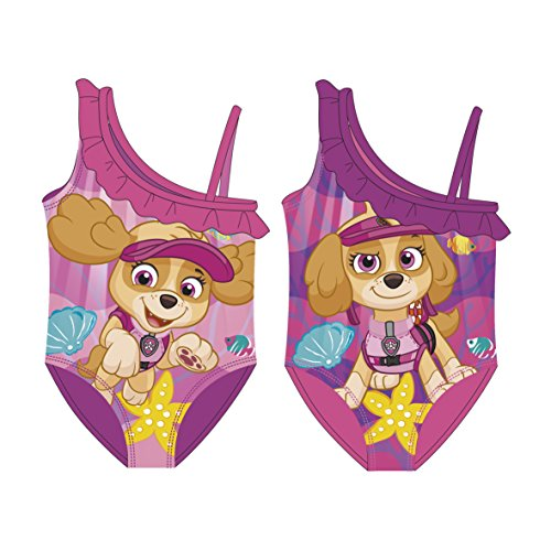Paw Patrol Girl Badeanzug AUSWAHL Bikini Kinderbadeanzug Beachware Bademode Kinderkleidung (Rüschen Lila, 6 Jahre) (Child Bikini-badeanzug)