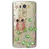 Spritech (TM)?Carcasa 3d bricolaje Bling Strass diamante case casos transparente Back Cover Cristal Funda Cráneo Funda Hard Carcasa para LG Optimus