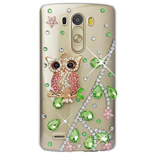 Spritech (TM)-Carcasa 3d bricolaje Bling Strass diamante case casos transparente Back Cover Cristal Funda Cráneo Funda Hard Carcasa para LG Optimus G3D850VS985D851, A19, LG G4