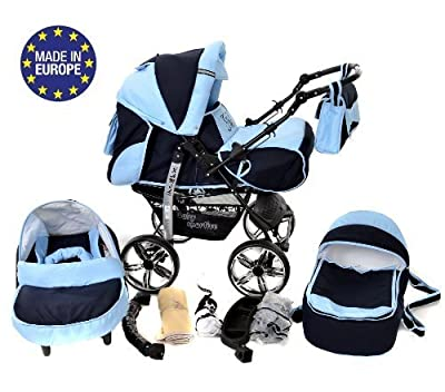 Kamil - Sistema de viaje 3 en 1, silla de paseo, carrito con capazo y silla de coche, RUEDAS ESTÁTICAS y accesorios