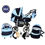 3-in-1 Travel System with Baby Pram, Car Seat, Pushchair & Accessories, Navy-Blue & Blue