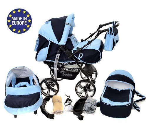 3-in-1 Travel System with Baby Pram, Car Seat, Pushchair & Accessories, Navy-Blue & Blue 51sXvRhNRtL