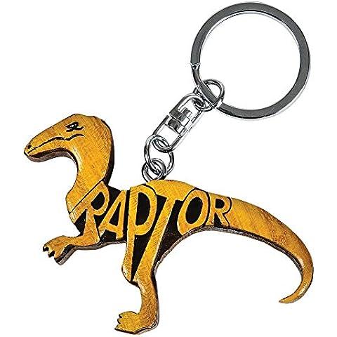 Diseño de Raptor palabra Rhode Island de madera llavero con muñeca