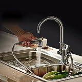 BAYTTER® Küchenarmatur Hochdruck Wasserhahn mit ausziehbarer Brause aus Messing Spültischarmatur