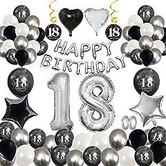 Idea Regalo - MMTX 18 Decorazione Festa di Compleanno, Palloncini Compleanno Argento Nero di Banner Happy Birthday, Stampa Palloncini in Lattice Palloncini Foil Stella Cuore per Forniture per Ragazzo Uomo Donna