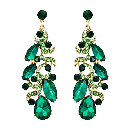 EVER FAITH Damen Kristall Party Floral Leaf Vine Teardrop Braut durchbohrt baumeln Ohrringe grün Silber-Ton -