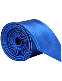 High Quality Plain Skinny Slim Satin Tie Royal Blue