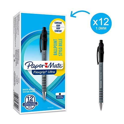 Papermate Flexgrip Ultra Penna a Sfera a Scatto, Punta Media (1.0 mm), Confezione da 12, Nero