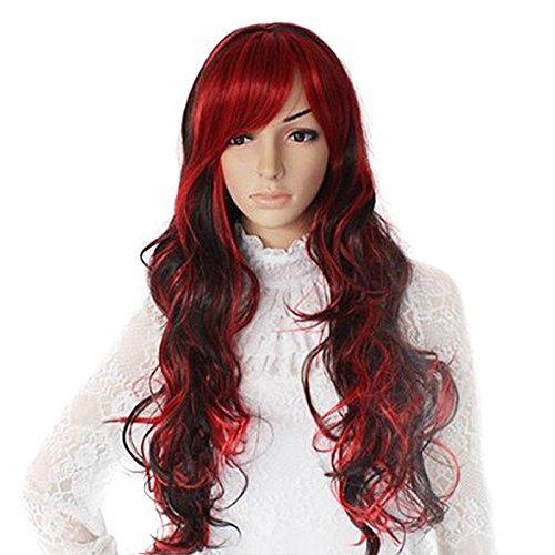 Lange volle Haar wellig lockigen Perücken für Cosplay Party Halloween Weihnachten schwarz und (Rotes Lockiges Perücke Haar)