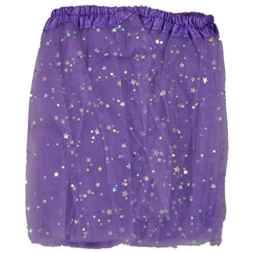 Tutu Skirt - Purple Stars Princess Girl's Pettiskirt With Sparkling Stars Dress-Up Tutu Tulle Skirt / Mini Skirt For Ballet Dance Photography Prop Costume Outfit Party Dancewear~ 23cm Length ~ 23-43 Cm Waist  available at amazon for Rs.298