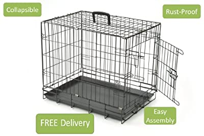 Black Dog Puppy Cage Crate Carrier With Handle - M/medium