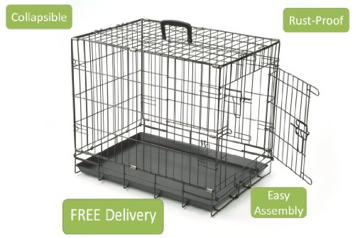 BLACK-DOG-PUPPY-CAGE-CRATE-CARRIER-WITH-HANDLE-MMEDIUM