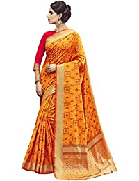 [Sponsored]Shangrila Women's Gold Colour Pochampally Woven Silk Saree With Stitched Free Size Blouse