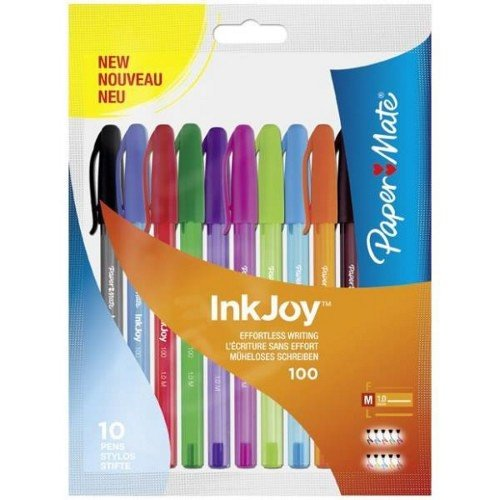 papermate-inkjoy-100-st-ball-pen-with-10-mm-medium-tip-assorted-fun-colours-pack-of-10