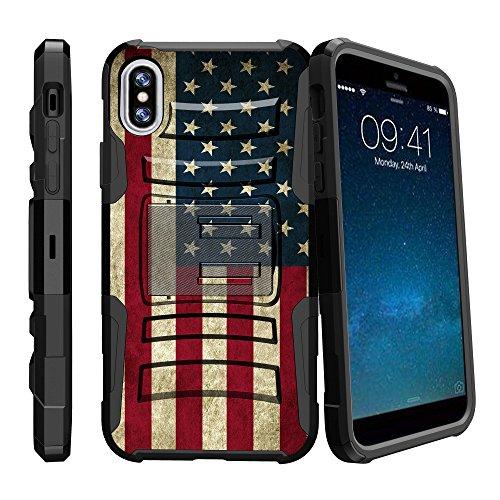 iPhone X 2017Schutzhülle mit Ständer, Apple iPhone X 2017Rugged Case [Clip Armor] Schutzhülle iPhone X [iPhone X 20172017Schweren Fall] W/Ständer + Holster, American Flag USA American Flag-handy-fall