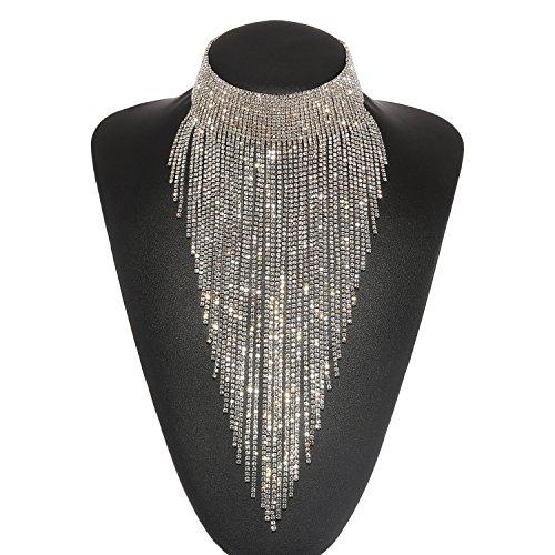 ment Halskette Silber, Costume Halskette für Damen Neuheit Mode Schmuck 1 Pc mit Geschenkbox- HLN023 Silver (Elegante Modeschmuck)