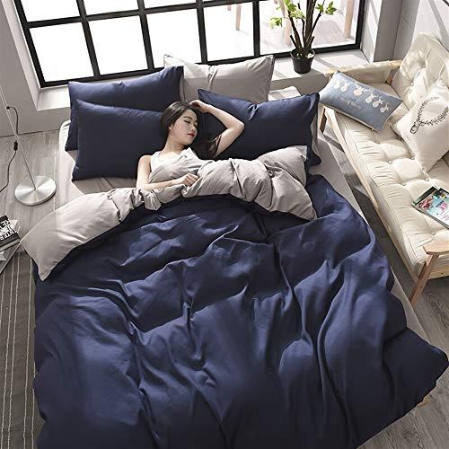UOUL Bettwäscheset Baumwolle 4-teilig Einfarbig Gebürstet Saphirblau Falten Verblassen Nicht Jugendzimmer Einzel Doppel,Navy,California King