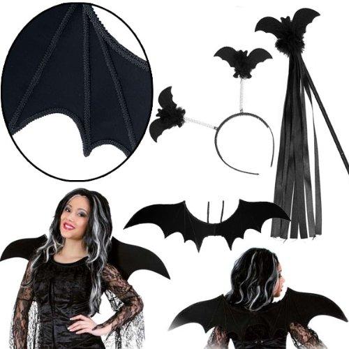 -Set Kinderkostüm Karneval, schwarz (Machen Fledermaus Flügel Halloween Kostüm)