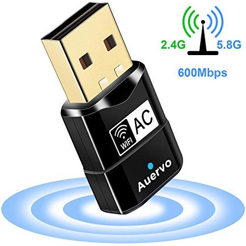 AUERVO WLAN Stick, 600Mbit/s WiFi Adapter, Dual Band 5GHz 433Mbps/2.4GHz 150Mbps USB WiFi Dongle für Windows XP/ 7/8/ 8.1/10/ Vista, Mac OS X 10.4-10.12