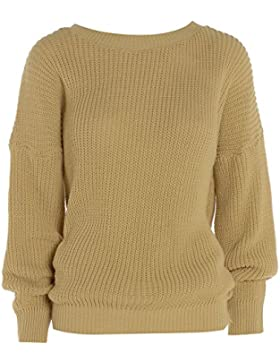 Made By Malaika® Nuevas señoras para mujer Plain de lana gruesa de punto oversized Baggy sudadera manga larga...