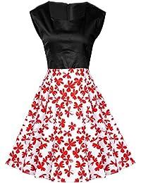 MISSMAO 1950s Mujer Retro Vestidos de Algodón Años 50s Traje de Etiqueta Tela de Algodón Vestido