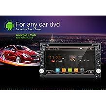 Upgrade Versión WIFI modelo Android 6.0QURE Core doble Din coche reproductor de DVD GPS navegación estéreo para coche universal con libre cámara y tarjeta de mapa