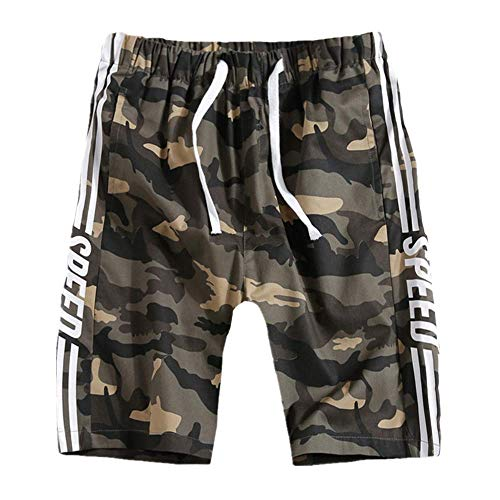 Mens Casual Shorts Sommer Fashion Sports Shorts Grüne Camouflage Laufhose mit elastischer Taille 3XL -