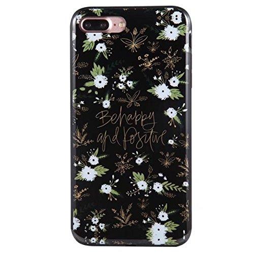 Hülle für iPhone 7 plus , Schutzhülle Für IPhone 7 Plus Blumen gedrucktes Muster weichen schwarzen TPU Gel Shell Stoßfänger Fall Fall ,hülle für iPhone 7 plus , case for iphone 7 plus ( Color : B ) D