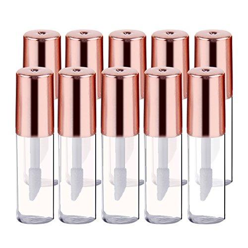 10 PCS 1.2ml Mini Flacon Vide Flacon Lèvres Gloss Vide,Vococal® Plastique Tube Liquide Brillant à Lèvres(Doré)