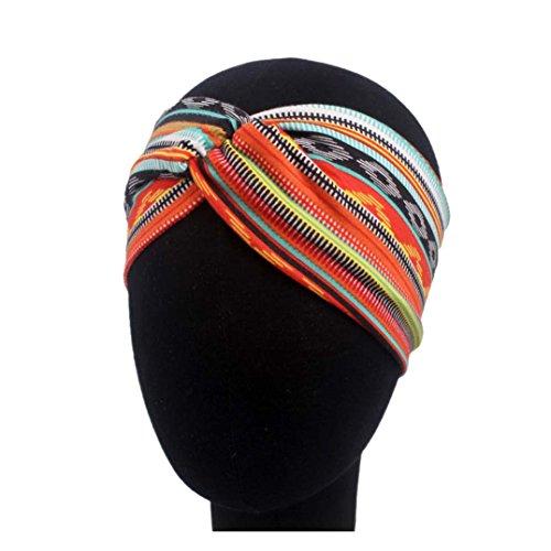 Qinlee Elastische Stirnband Ethnisch Stil Muster Haar Accessoires Mädchen Haarband Modegeschenk Sport Haar Band Frisuren Haar Accessoires (Orange)