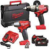 Milwaukee M18FPP2B-502X M18 Fuel Twin Pack (M18 FPD Percussion Drill, M18 FIWF12 Impact Wrench, 2 x 5.0ah batteries, fast charger, dynacase)
