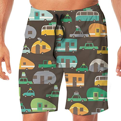 Herren Boardshorts Traveling_Brown_2816 Badehose Surf Beach Urlaub Party Badehose Strandhose XL