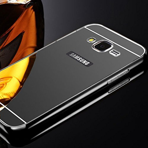 CEDO Premium Luxury Metal Bumper Acrylic Mirror Back Cover Case For Samsung Galaxy J7(6) (2016) SM-J710 - Black