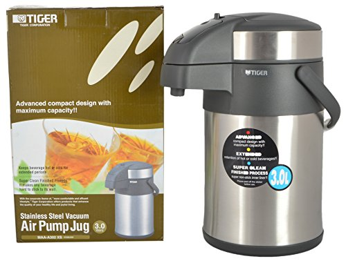 Tiger Stainless Steel Air Pump Jug, 3 Litre, Silver