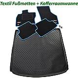 Auto-Fußmatten Velours mit Farbiger Kettelung und eingearbeiteten Trittschutz + Auto-Gummiwanne; Schutzmatte für Den Laderaum