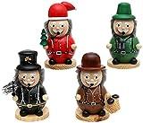 Sigro Großhendel 4Assorted chimenea Sweeper, seta recolectores, cazador y Papá Noel bola de incienso quemadores figura, 15cm), multicolor