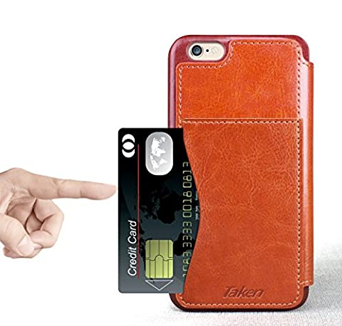 Taken Iphone 6 leder - PU Brieftasche Hülle - Schlag-Mappen-Kasten-Abdeckung - Credit Card Slots (braun)