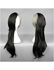 COSPLAZA Perruque Anime Cosplay Wigs Tokyo Ghoul Uta longue noire grise Halloween Cheveux