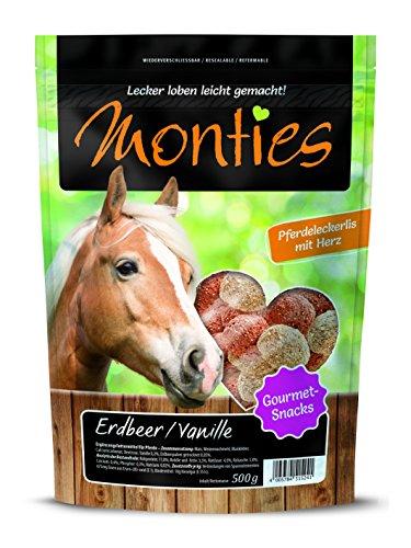 Monties Pferdeleckerlis, Erdbeer-/Vanille-Snacks, Extrudiert, Größe ca. 4,5 cm Durchmesser, Gourmet-Snacks, 500 g