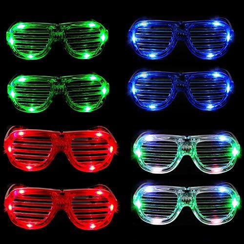 mulucky Unisex Fashion Kunststoffbrillen mit LED-Belichtung für Weihnachten, Halloween,  wilde Partys und Geburtstagspartys, Set of 8