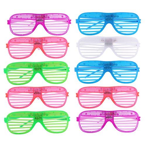 Tinksky LED-Atzenbrille / Brille mit Schlitzen, Kunststoff, ideal für Halloween / Party / Karneval, 12Stück (zufällige Farbauswahl)