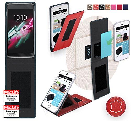 reboon Hülle für Alcatel OneTouch Idol 3C Tasche Cover Case Bumper | Rot Leder | Testsieger