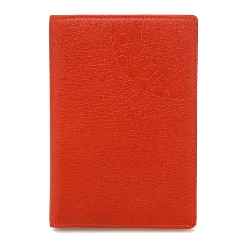 Etui Protection Passeport Elégant Alphabet Coréen Cuir Orange HANGEUL