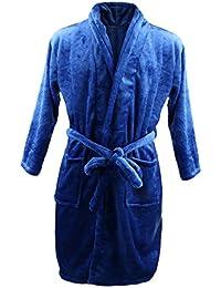 Homme Peignoir de Bain Chaud Doux Luxe Molleton SPA Robe en Laine Polaire Vêtement de Nuit - Bleu, XL