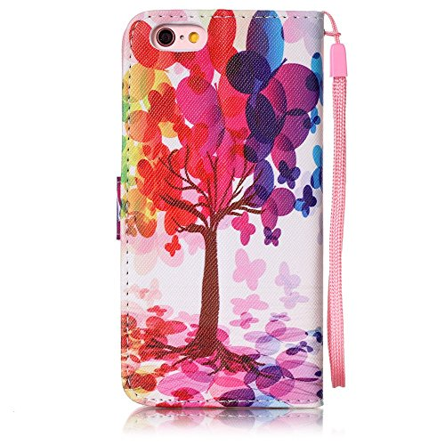 Etsue Coque en cuir pour iPhone 5/5S,iPhone SE,Mode Folio Portefeuille Pattern Housse de téléphone avec Corde pour iPhone 5/5S,iPhone SE,Coloré Retro Flip Book Style Motif Leather Wallet Case Cover av Arbre coloré