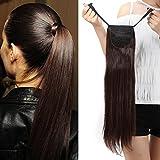 """'22""""/27capelli coda di cavallo capelli estensione di capelli (Attached per padiglione auricolare) liscia-Wrap Around Tie Binding Ponytail estensioni"""